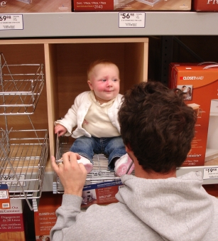 Addy in home improvement store shelf
